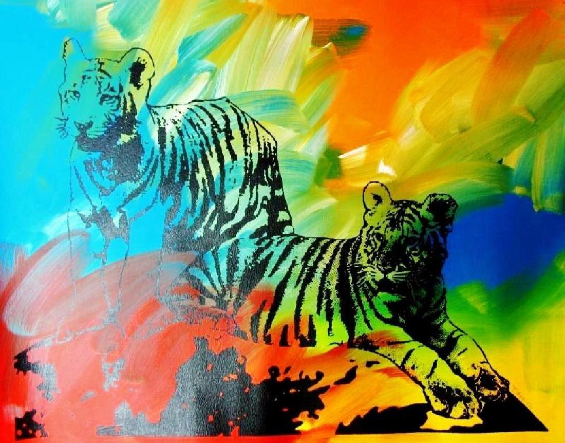 POP CANVAS TIGERS ORIGINAL ARTWORK SIGNED HUGE SALE - 2