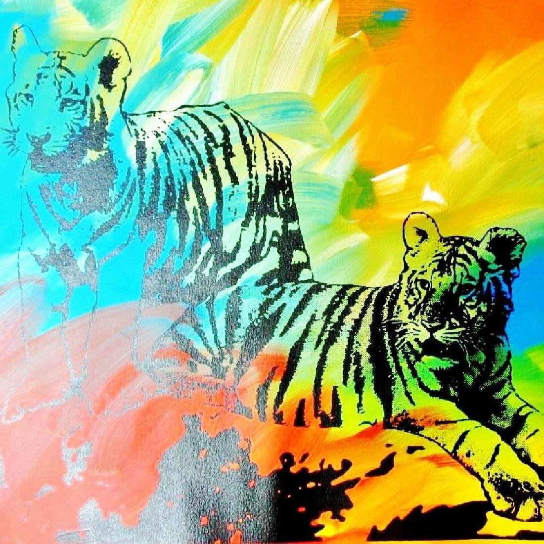 POP CANVAS TIGERS ORIGINAL ARTWORK SIGNED HUGE SALE - 3