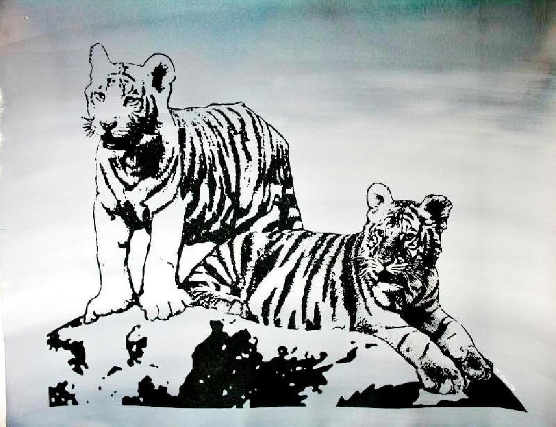 TIGERS BLACK & WHITE ORIGINAL PAINTING LARGE POP ART - 2
