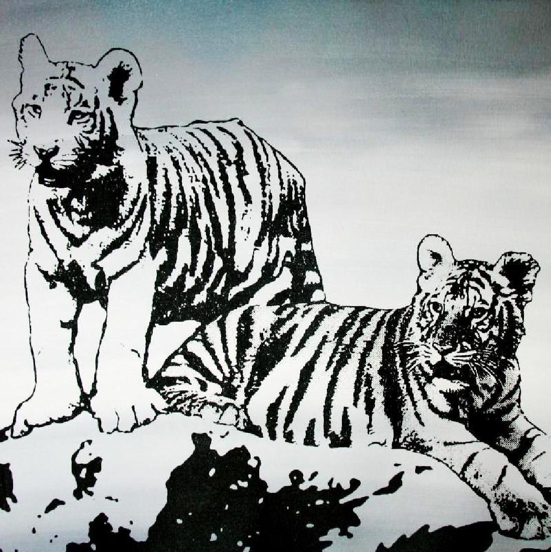 TIGERS BLACK & WHITE ORIGINAL PAINTING LARGE POP ART - 3