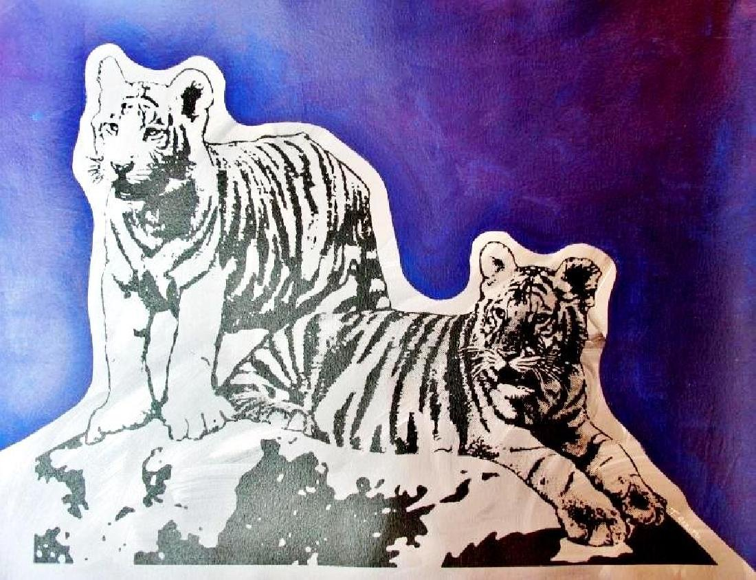 COLORFUL POP ART CANVAS ORIGINAL TIGERS ART SALE ONLY - 2