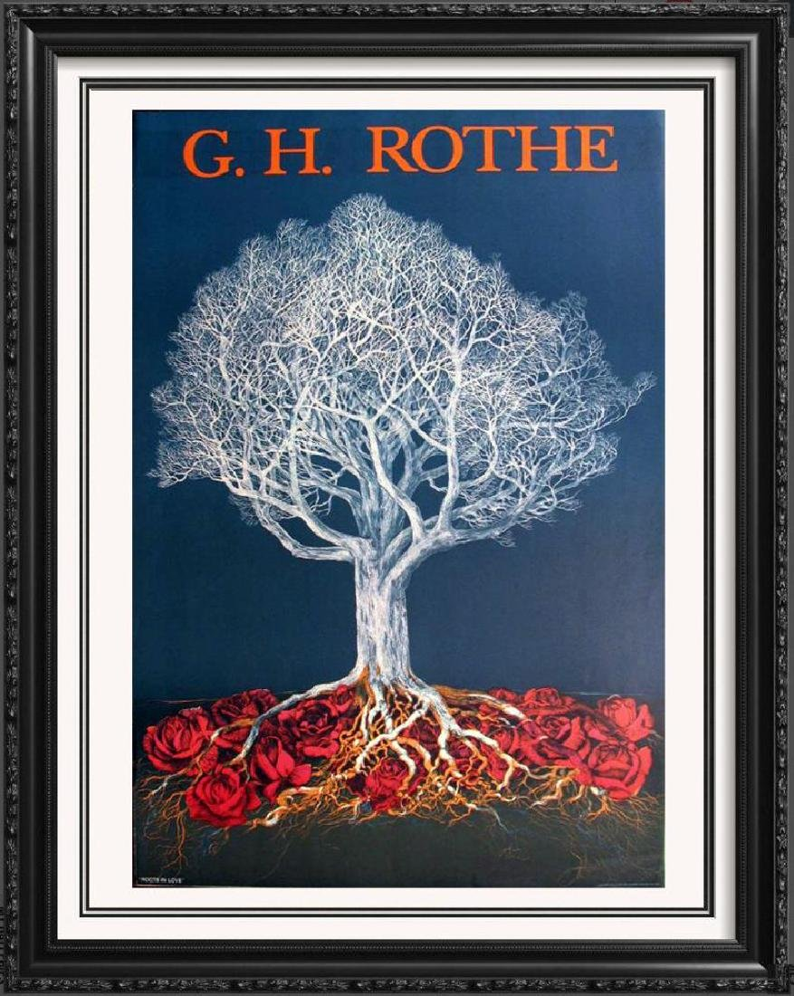 G.H. Rothe Litho Colored Art Dealer Sale Abstract Tree