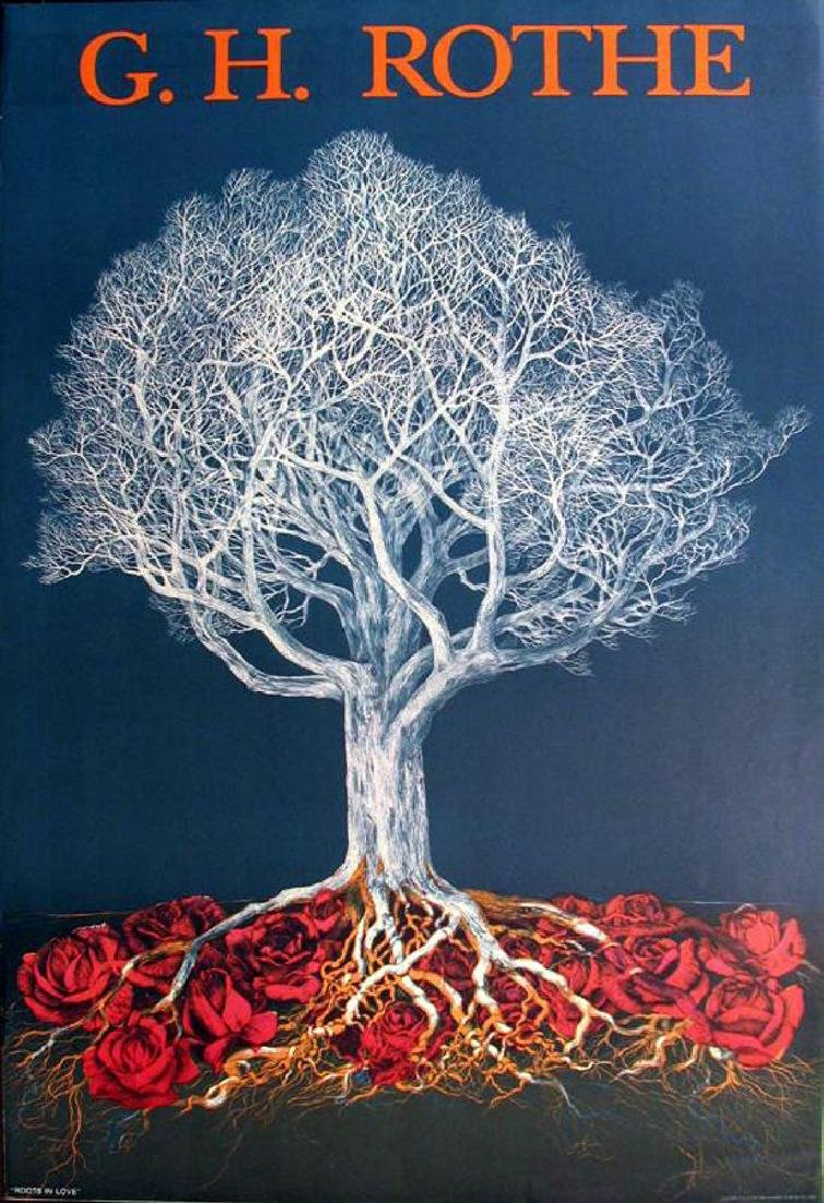 G.H. Rothe Litho Colored Art Dealer Sale Abstract Tree - 2