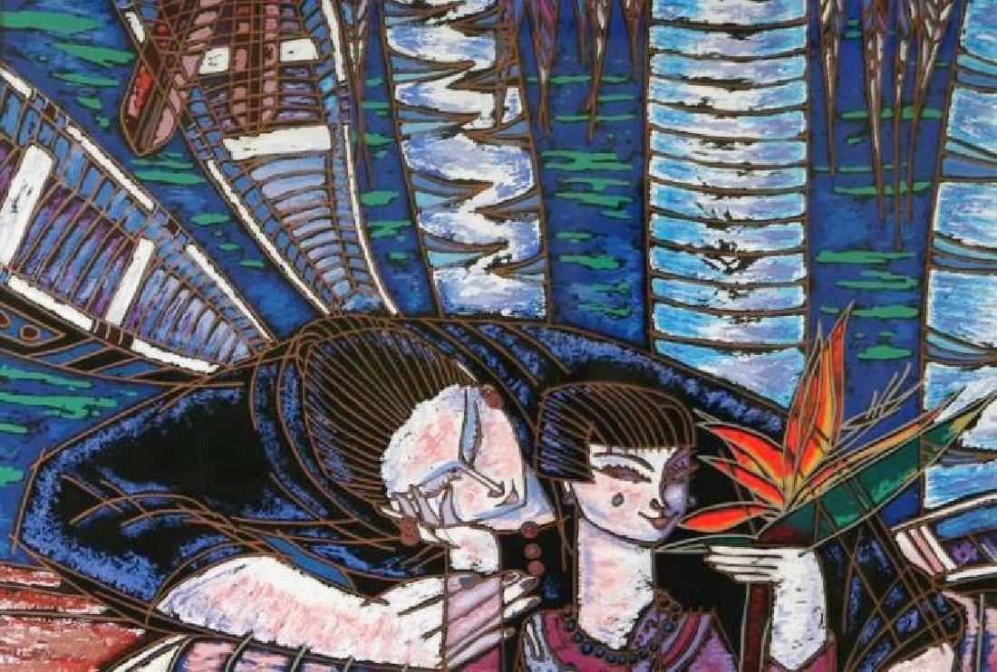 Wong Shue Yunnan Art Signed Ltd Ed Violet Colorful - 3