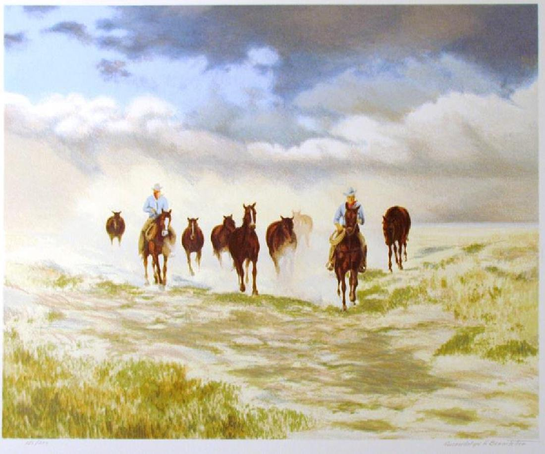 Realistic Western Scene Cowbays On Horses Ltd Ed