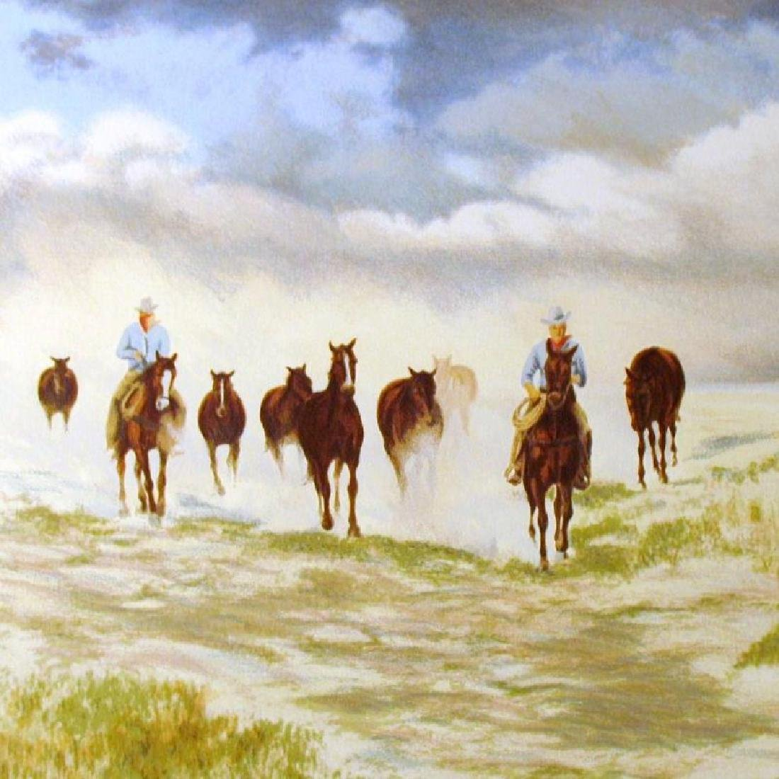 Realistic Western Scene Cowbays On Horses Ltd Ed - 3