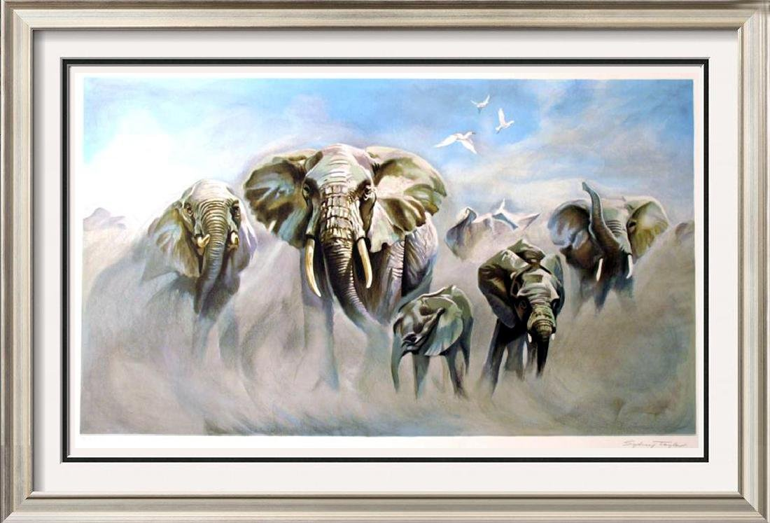 Elephants Realistic Ltd Ed Litho Rare Dealer Wholesale