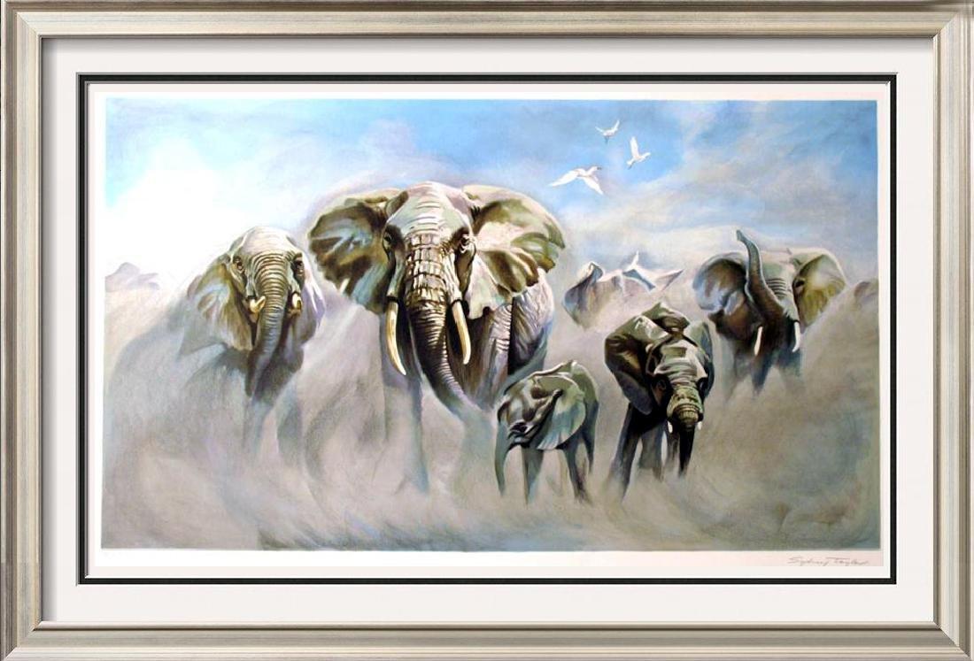 Elephants Realistic Ltd Ed Litho Rare Dealer Wholesale