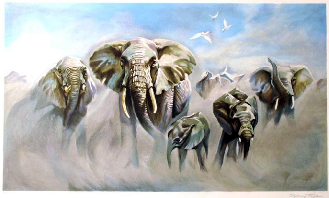 Elephants Realistic Ltd Ed Litho Rare Dealer Wholesale - 2