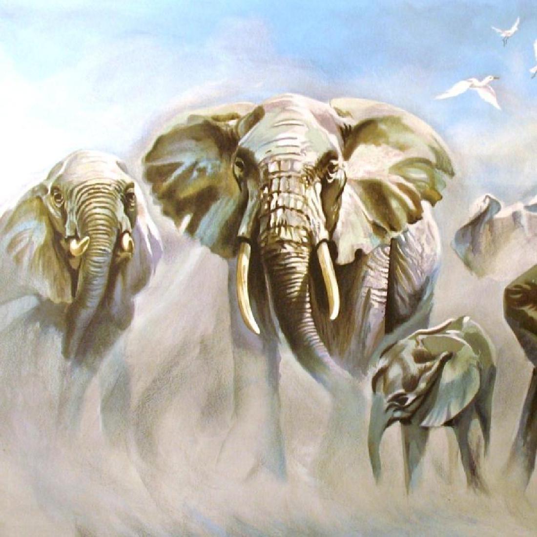 Elephants Realistic Ltd Ed Litho Rare Dealer Wholesale - 3