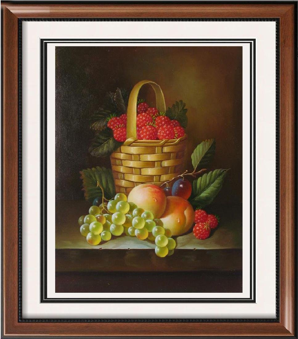 $60 Original Still Life Fruit Basket Signed Painting On