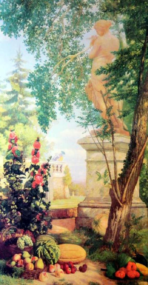 Neo Classical Art Print Colorful Garden Scene 55x29 - 2