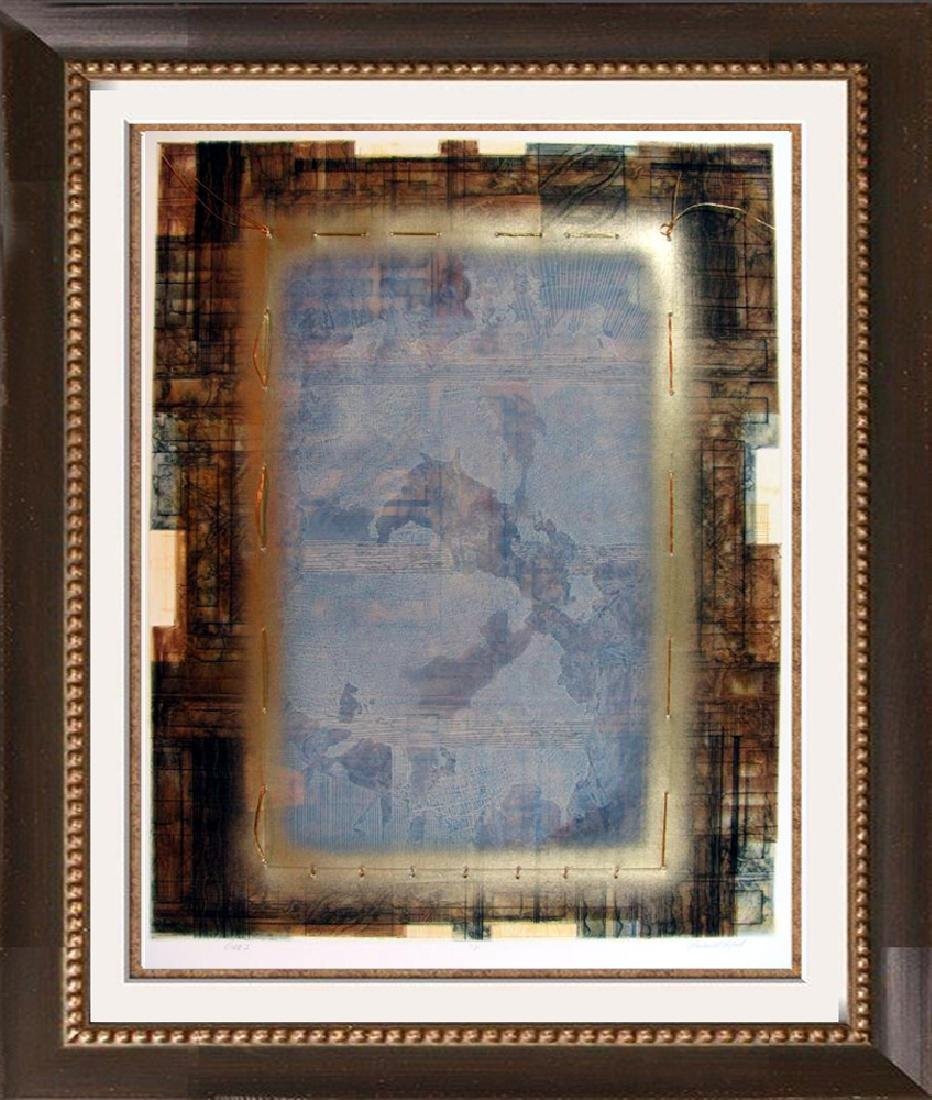Abstract Modern Art Horse Textured Collage Signed