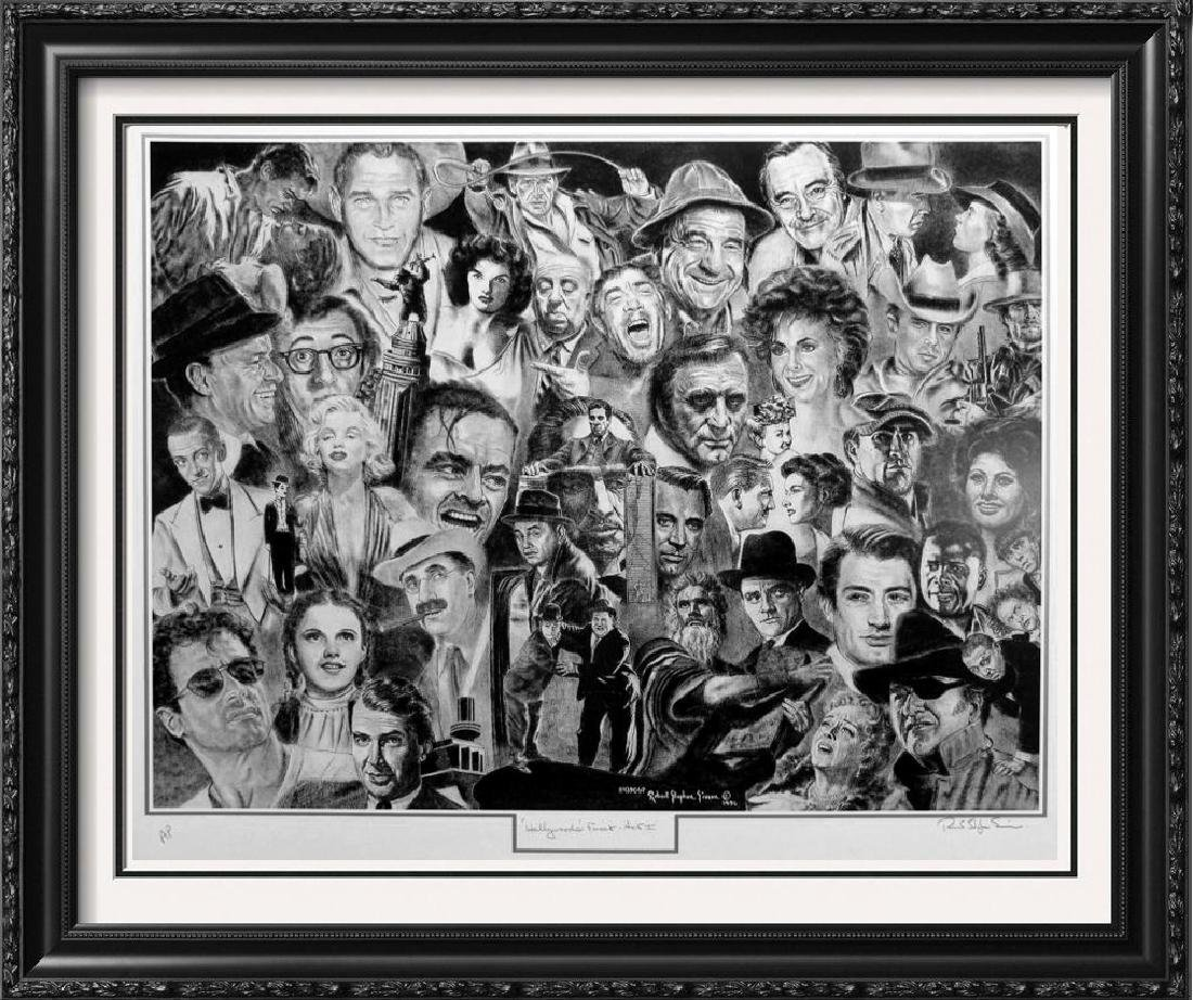 HOLLYWOOD STARS BLACK WHITE LITHOGRAPH SIGNED ARTIST