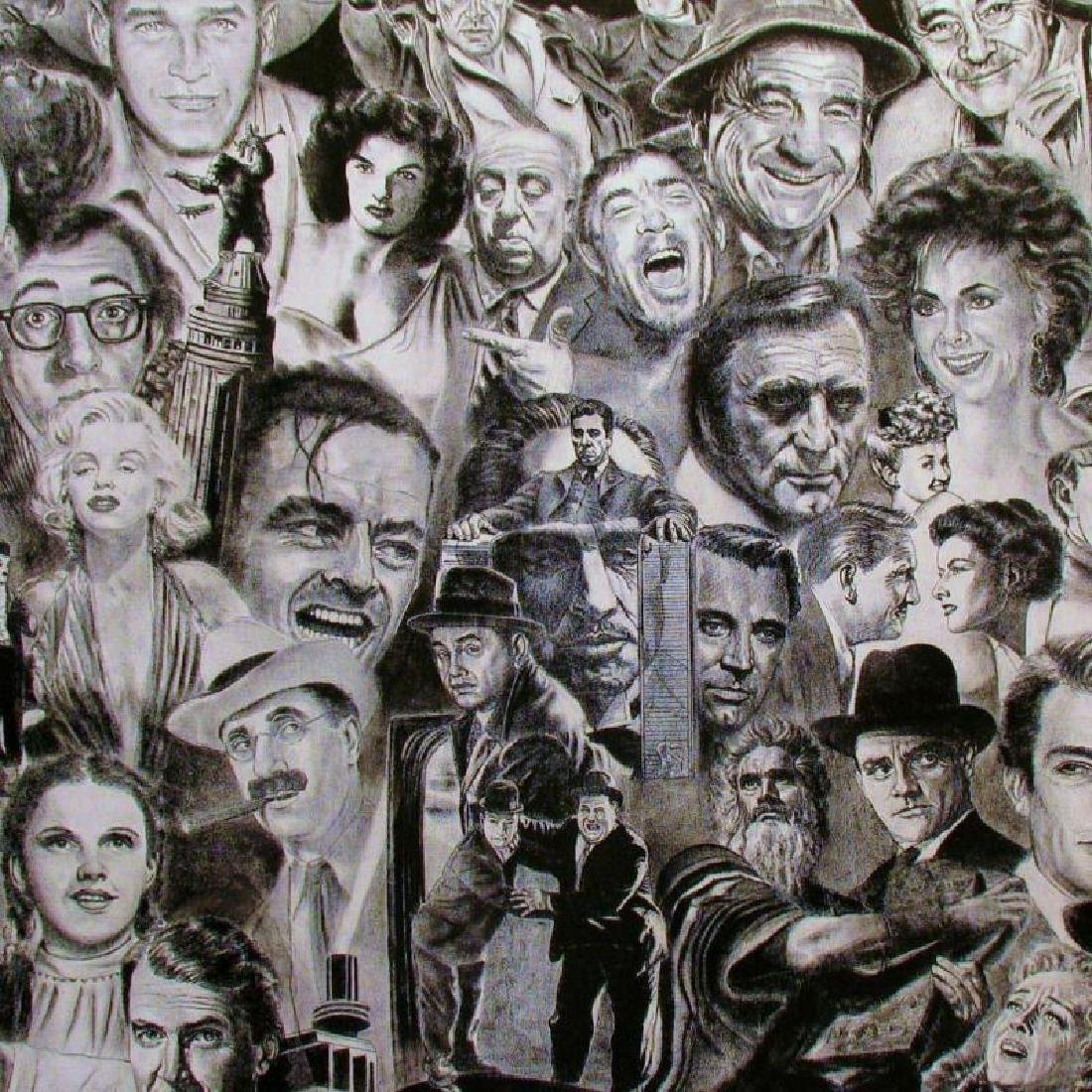 HOLLYWOOD STARS BLACK WHITE LITHOGRAPH SIGNED ARTIST - 2