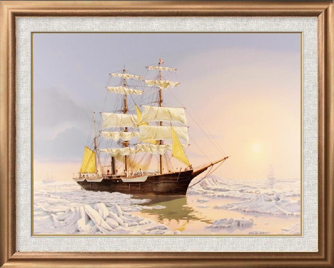Beautiful Ship Lithograph Hand Signed Limited Edition