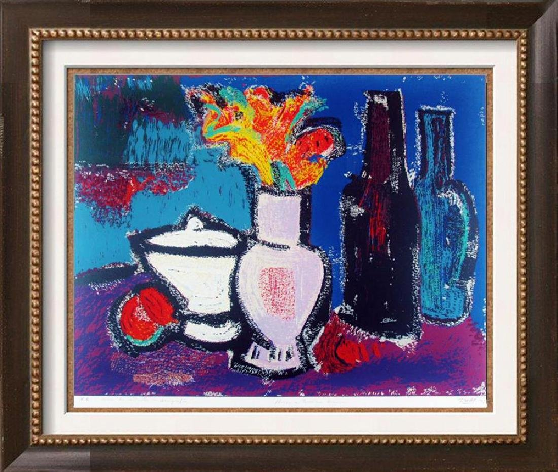 Abstract Modern Colorful Still Life Fantastic Signed