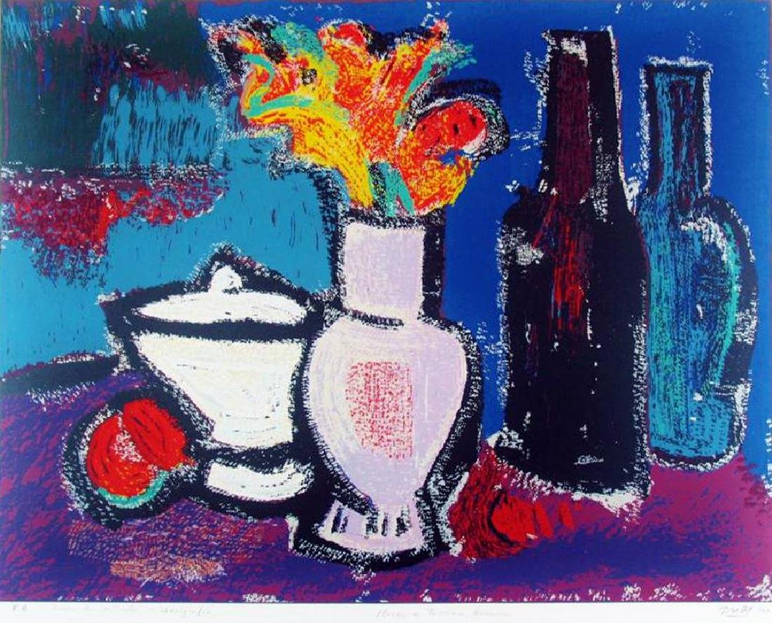Abstract Modern Colorful Still Life Fantastic Signed - 2