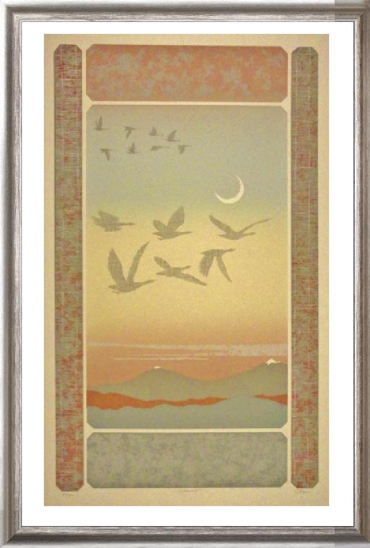 Abstract Mountain Bird Flight Signed Serigraph