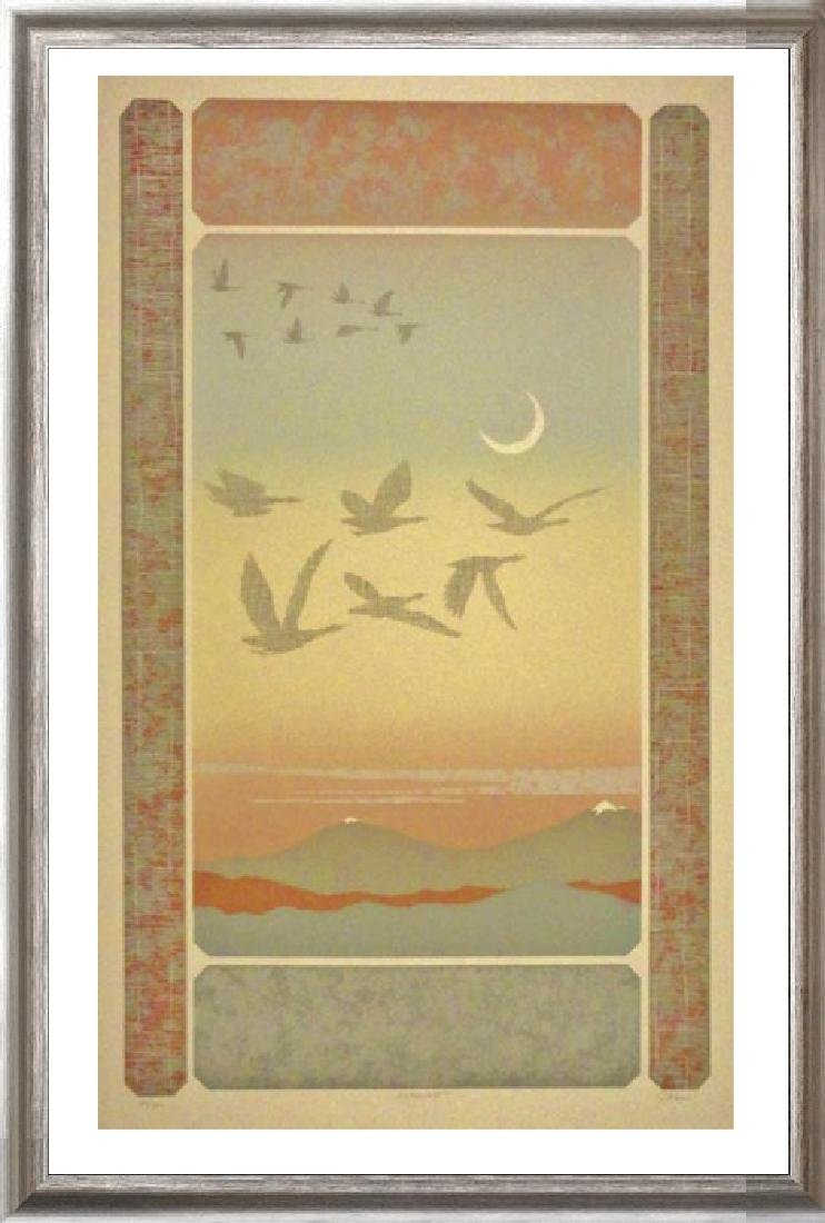 Abstract Mountain Bird Flight Signed Serigraph
