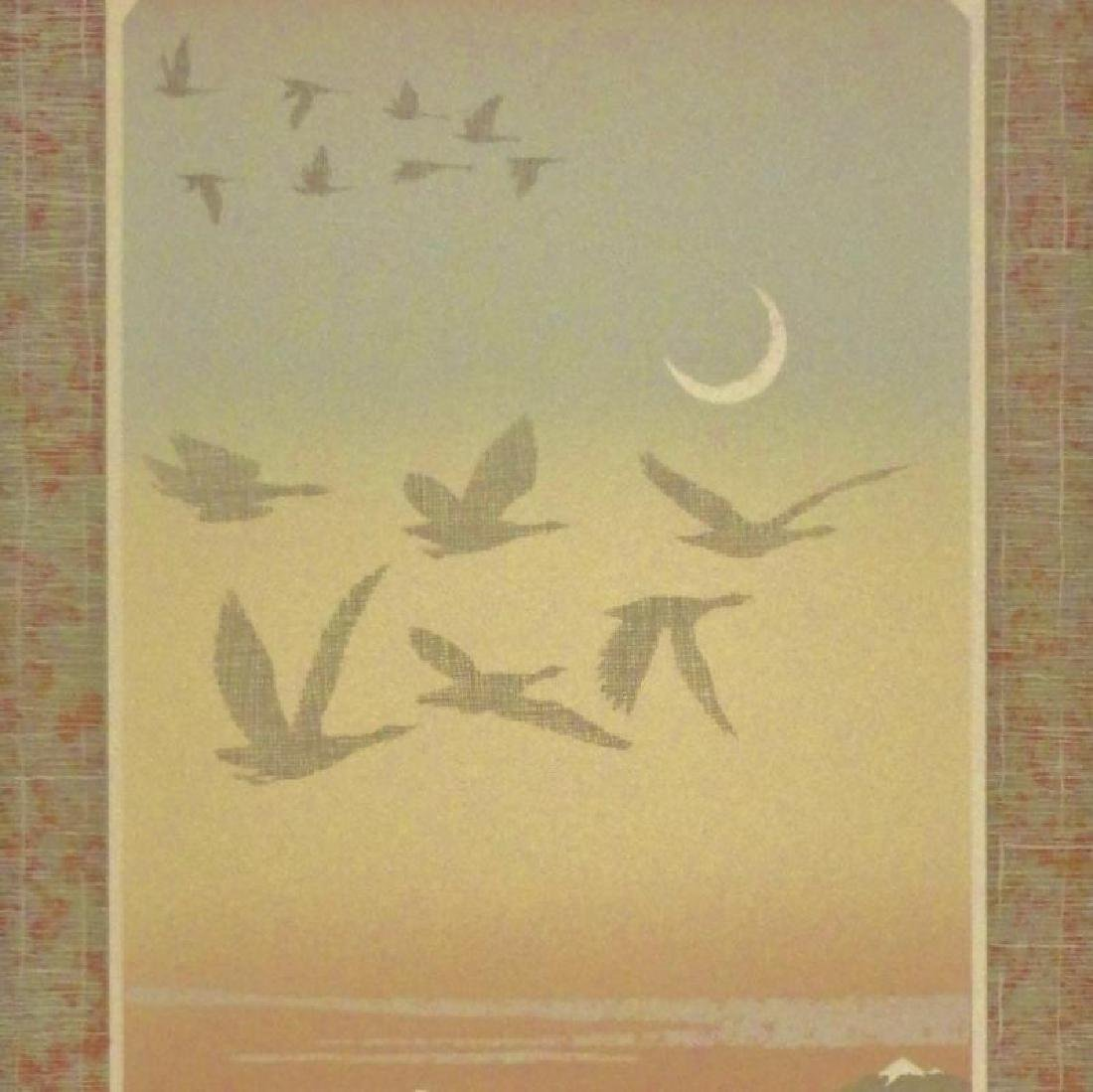 Abstract Mountain Bird Flight Signed Serigraph - 2