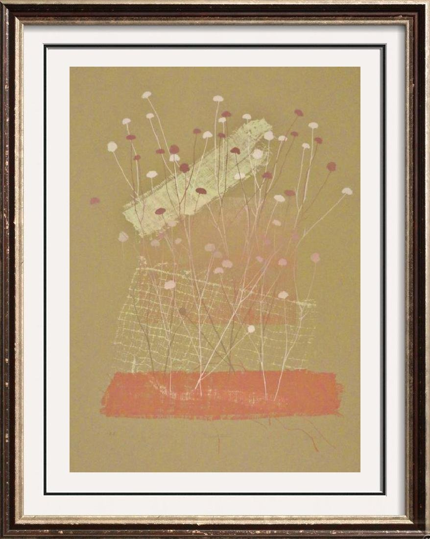 Abstract Floral Earth Tone Signed Dealer Liquidation