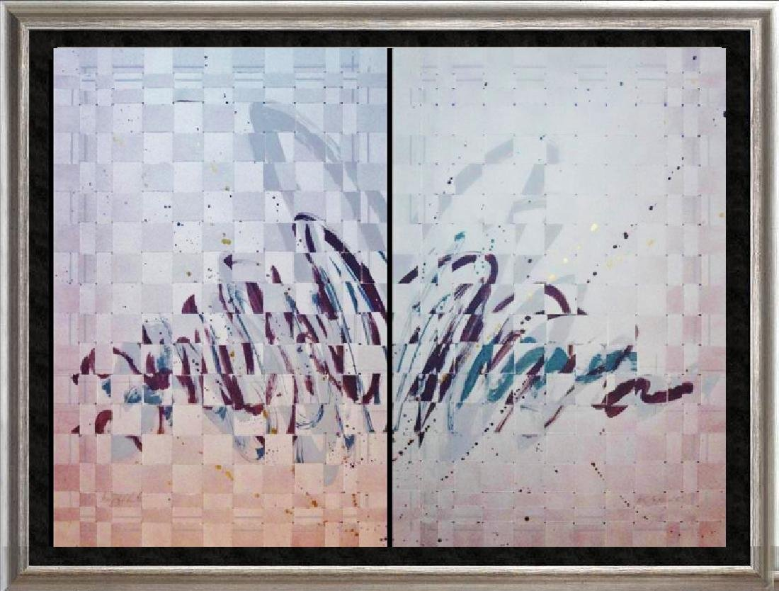 2 Piece Textured Weaved Mixed Media Abstract Modern Art