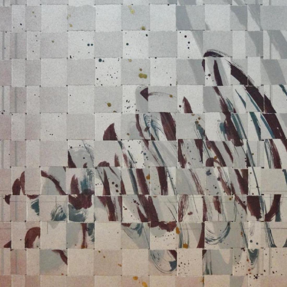 2 Piece Textured Weaved Mixed Media Abstract Modern Art - 4