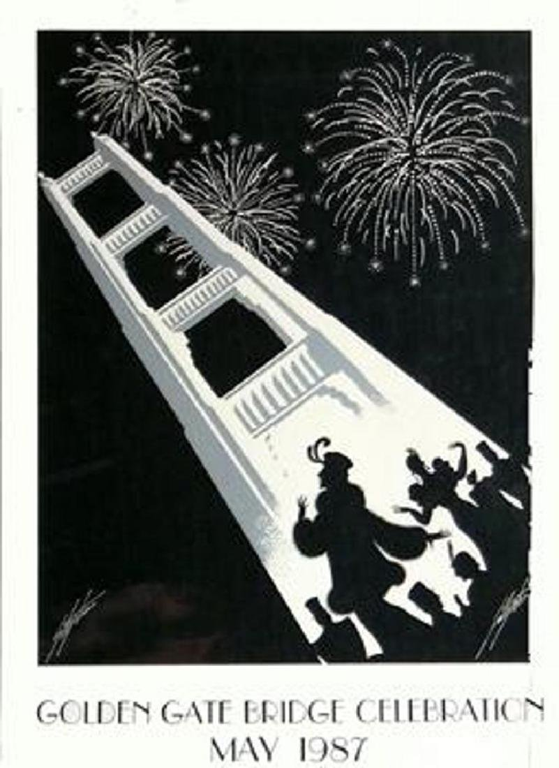 Golden Gate Art Deco Black White Signed Lithograph Sale