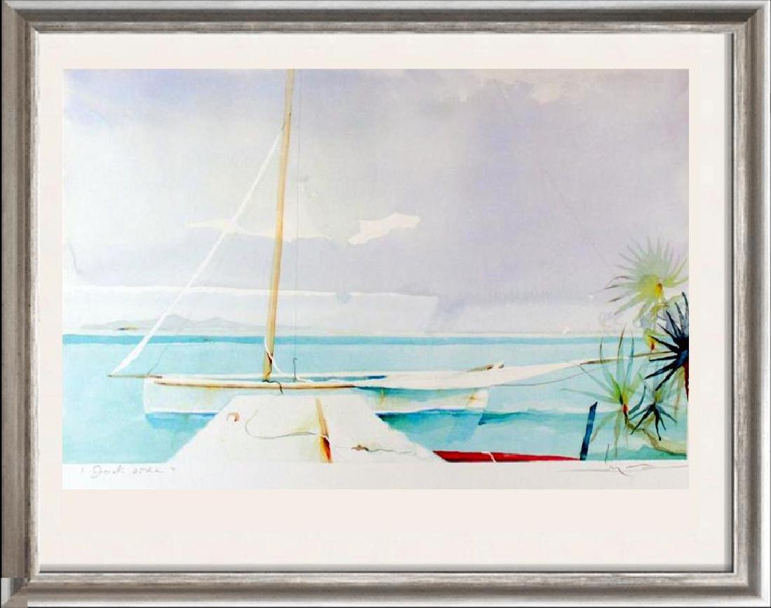 Dockside Art Print Island Watercolor Style Art Print