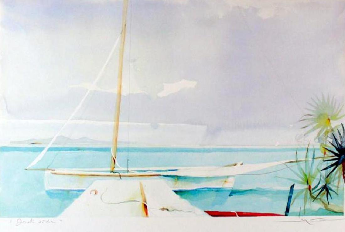 Dockside Art Print Island Watercolor Style Art Print - 2