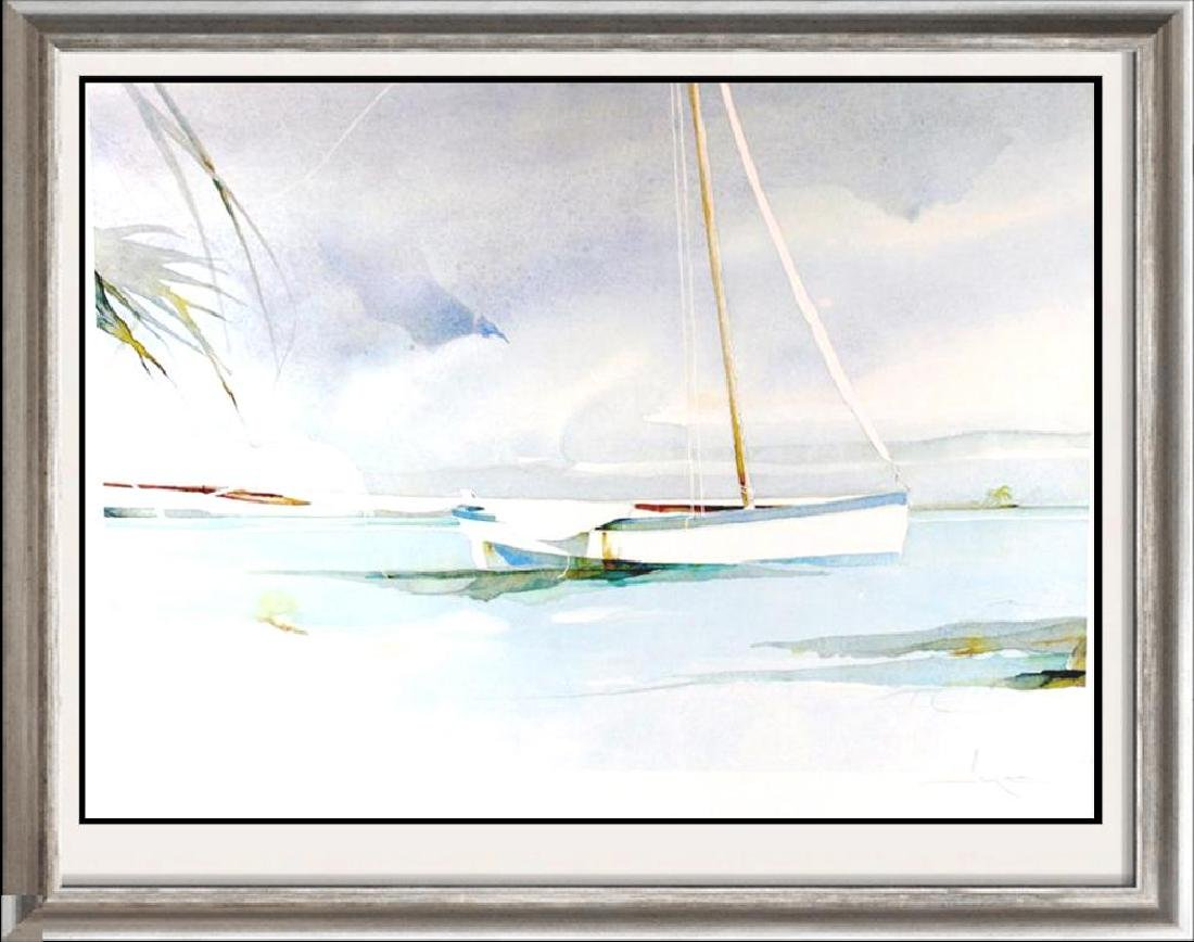 Boat Docked Art Print Island Watercolor Style Art Print
