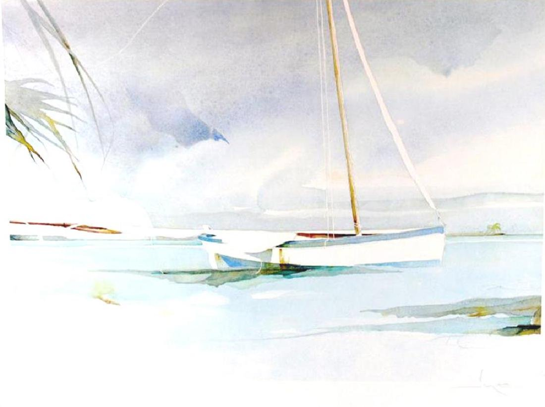 Boat Docked Art Print Island Watercolor Style Art Print - 2
