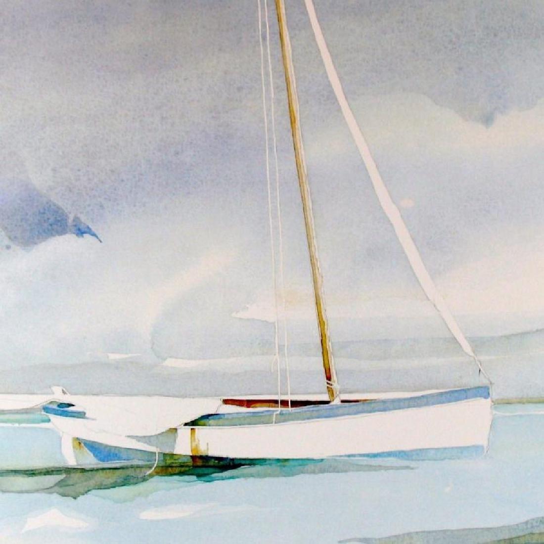 Boat Docked Art Print Island Watercolor Style Art Print - 3
