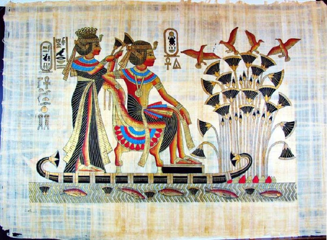 Original Egyptian Large 25x36 Papyrus Painting - 2