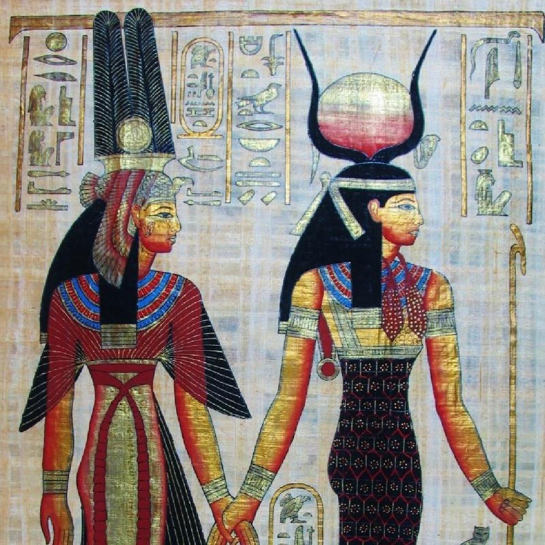 Original Egyptian Large 38x27 Papyrus Painting - 2