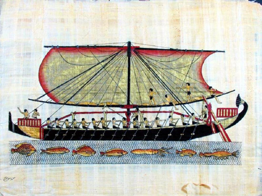 Original 26x37 LARGE Egyptian Art Papyrus Painting - 2