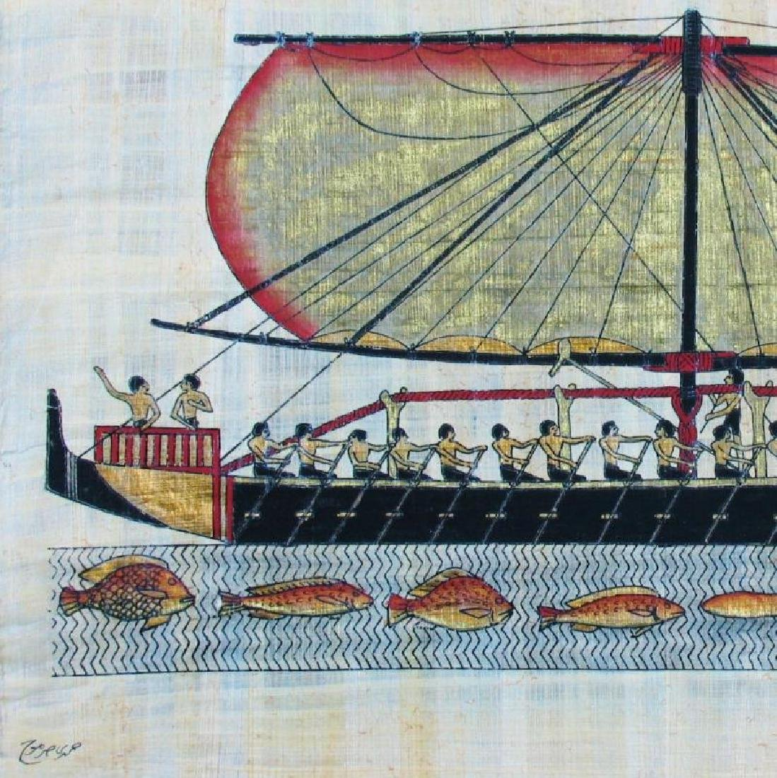Original 26x37 LARGE Egyptian Art Papyrus Painting - 3