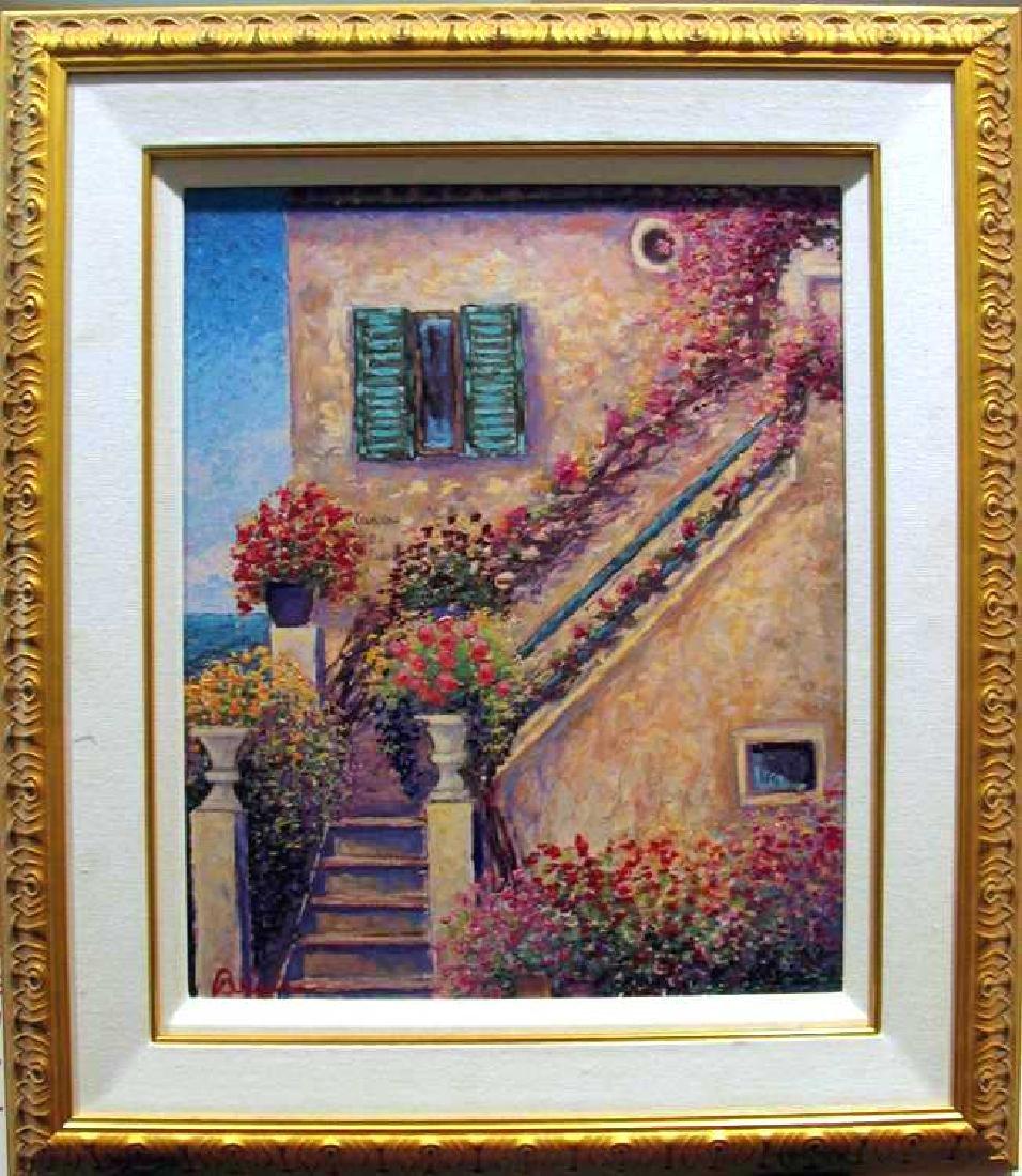 Custom Framed Mixed Media On Canvas Landscape Floral