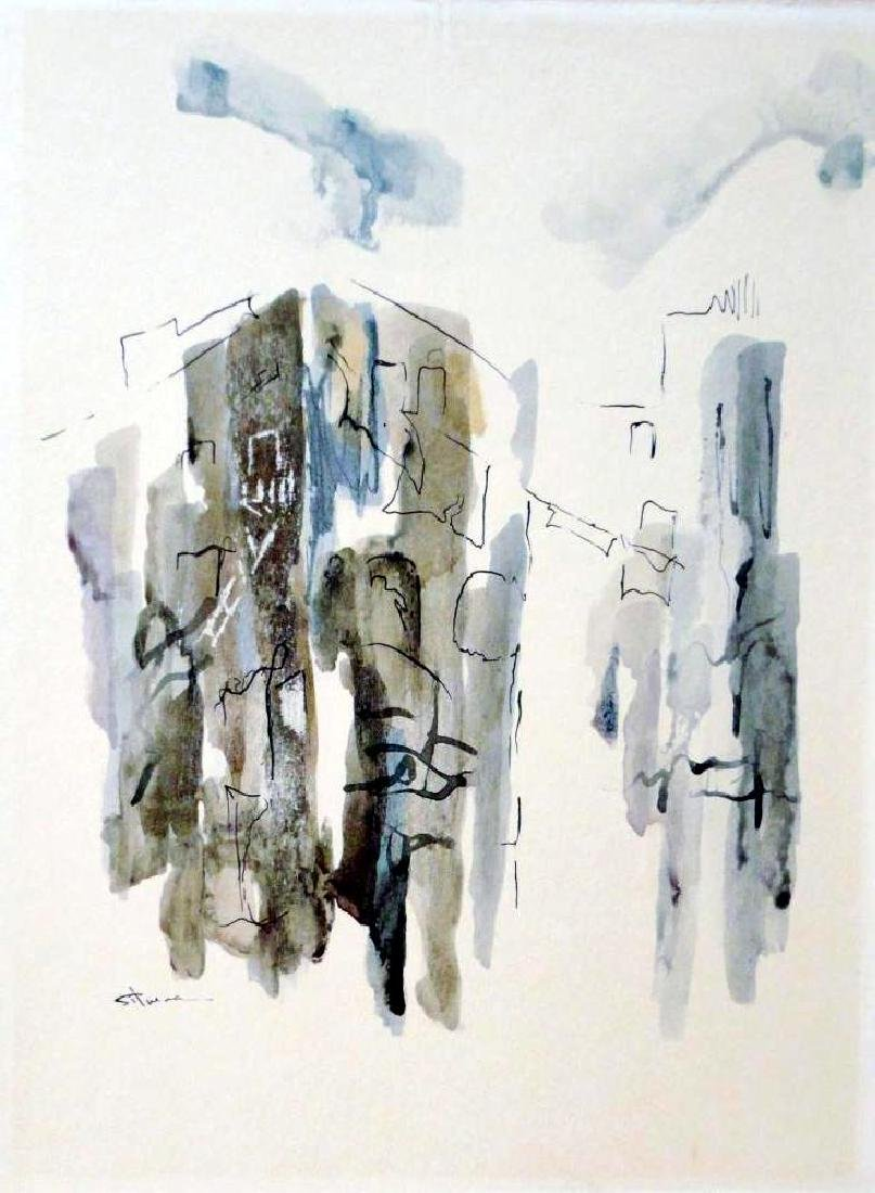 Beautiful Signed Original Watercolor on Board Abstract - 2
