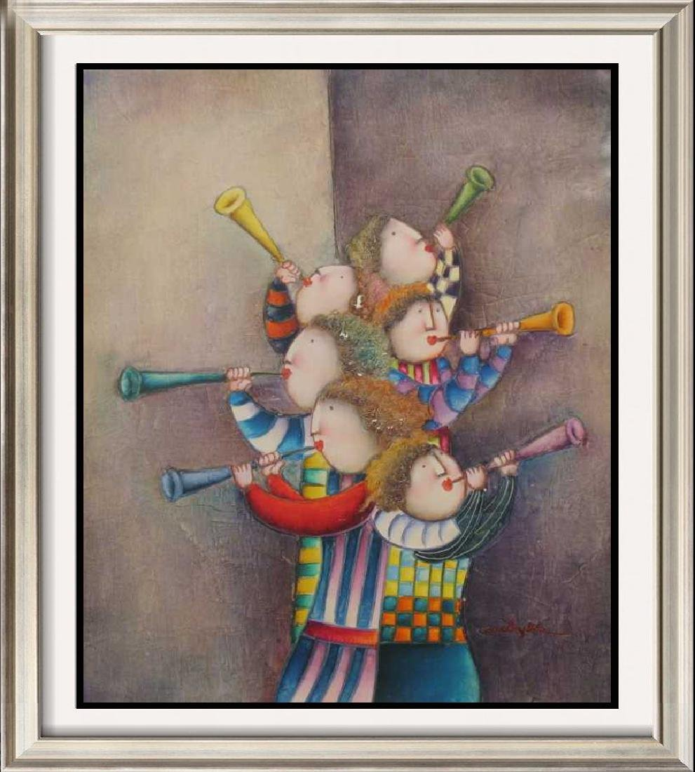 Abstract Figures Musical Signed Original Canvas