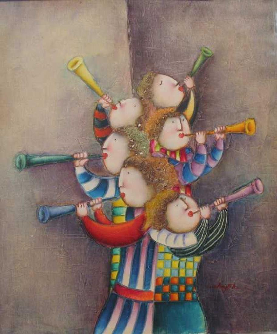 Abstract Figures Musical Signed Original Canvas - 2
