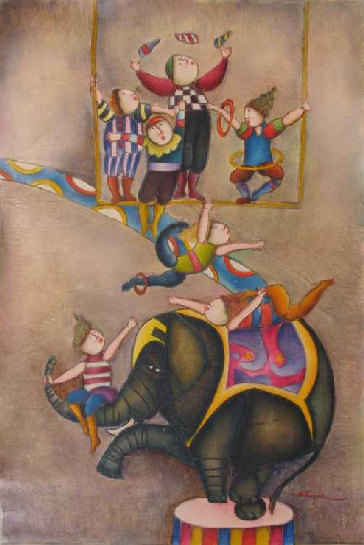 Circus Figures Elephant Colorful Original Canvas - 2