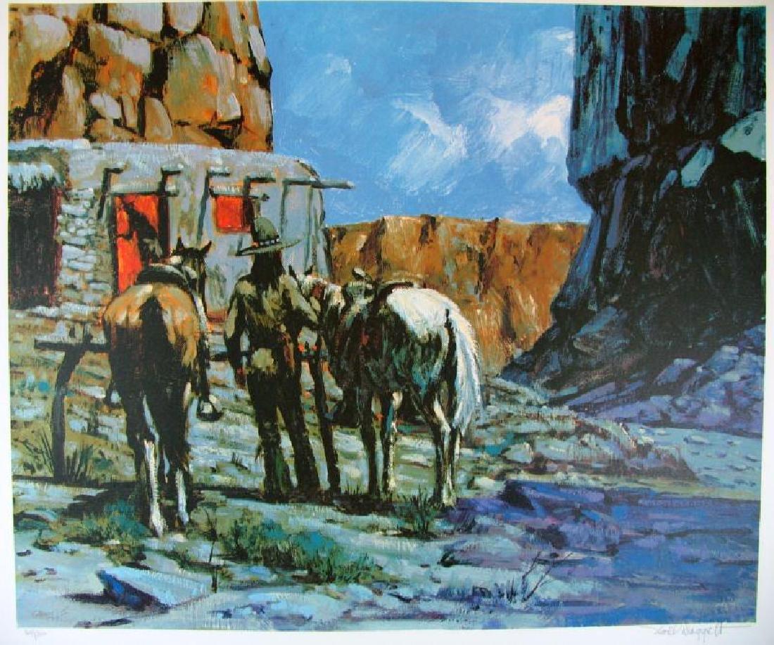 Horse Western Impressionism Scene Colored Litho Sale