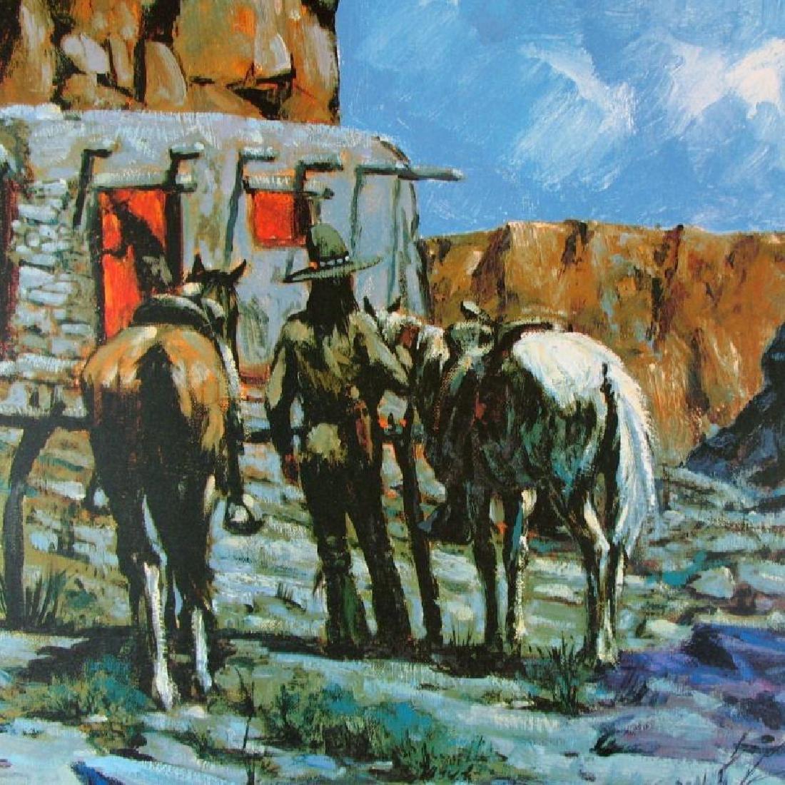 Horse Western Impressionism Scene Colored Litho Sale - 2
