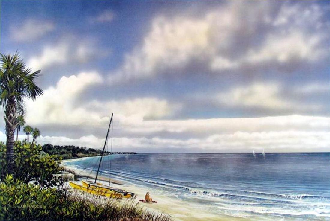 Beach Scene Simbari Style Colorful Lithograph Sale