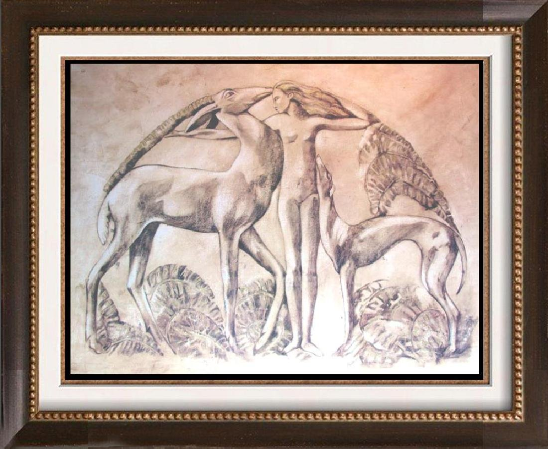 39x50 Neo Classical Nude with Animals Earth Tone Print
