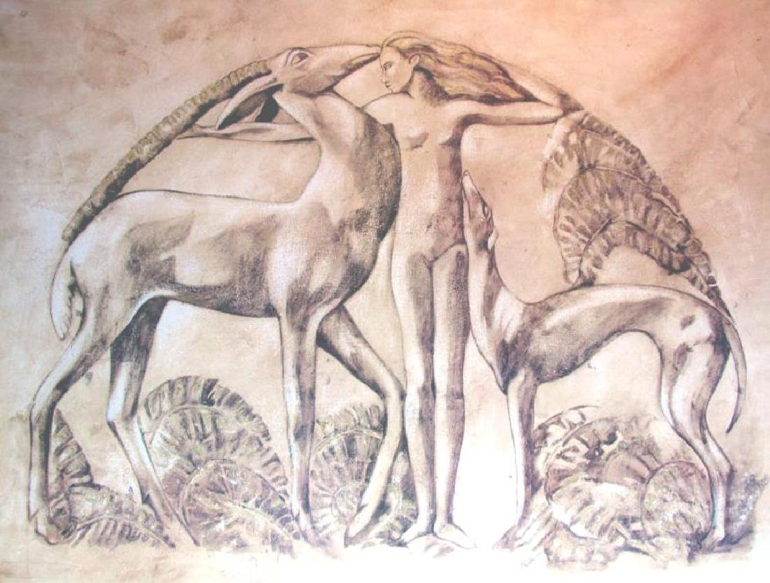 39x50 Neo Classical Nude with Animals Earth Tone Print - 2