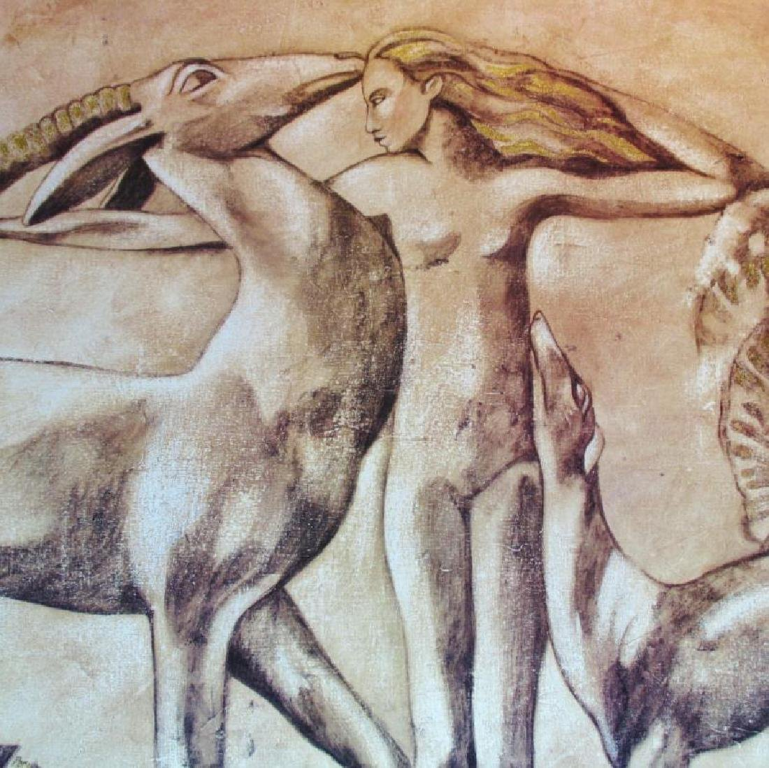 39x50 Neo Classical Nude with Animals Earth Tone Print - 3