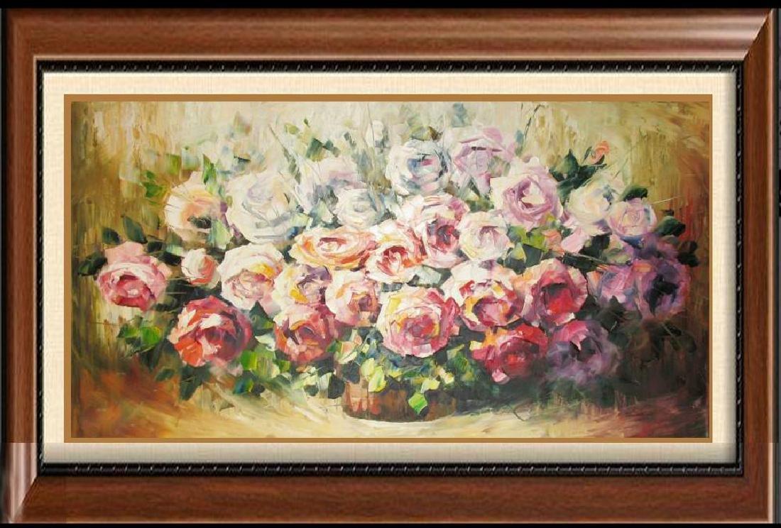 Colorful Rose Bouquet Original Painting 20X40